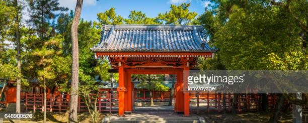 Japan traditional red tori temple gate panorama Sumiyoshi taisha Osaka