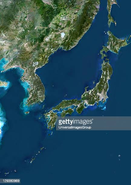 Japan true colour satellite image Japan is an archipelago of islands in the northern Pacific Ocean Japan's capital city Tokyo is situated on Japan's...