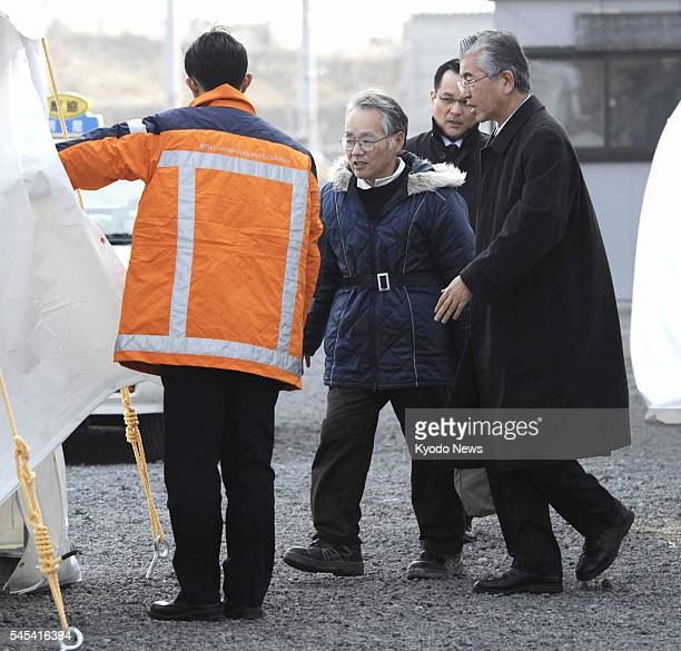 HIMEJI Japan Tsuneo Okumura who lost his 21yearold daughter in the 2005 derailment in Amagasaki Hyogo Prefecture arrives at a site where bereaved...