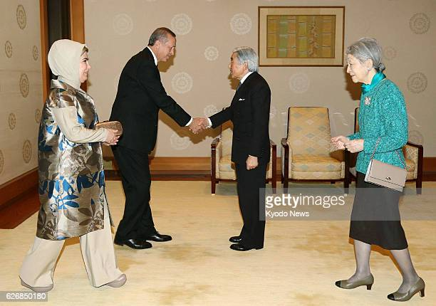 TOKYO Japan Turkish Prime Minister Recep Tayyip Erdogan and his wife Emine are greeted by Japanese Emperor Akihito and Empress Michiko at the...