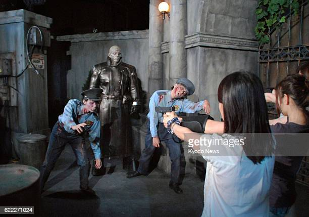 OSAKA Japan Universal Studios Japan in Osaka western Japan shows reporters its new attraction Biohazard the Real on July 18 ahead of its opening the...