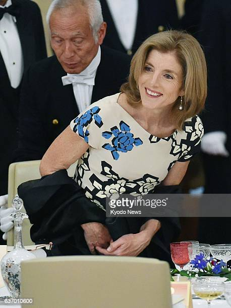 TOKYO Japan US Ambassador to Japan Caroline Kennedy seats herself at a banquet hosted by Japanese Emperor Akihito in honor of visiting US President...