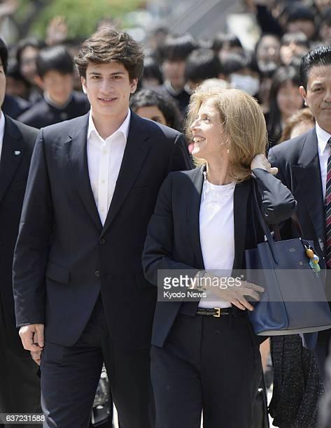 Japan - U.S. Ambassador to Japan Caroline Kennedy visits Sendai Nika Senior High School in Miyagi Prefecture with her son John Schlossberg on May 13,...