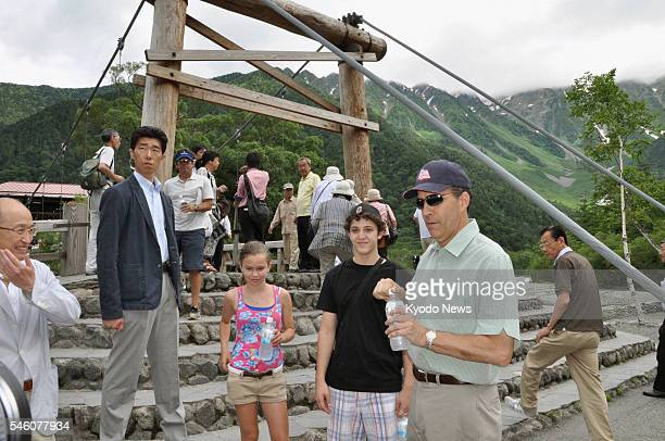 MATSUMOTO Japan US Ambassador to Japan John Roos visits Kamikochi a tourist spot in Matsumoto Nagano Prefecture on July 9 to promote the safety of...