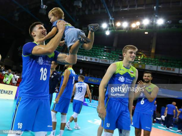 Japan v Slovenia FIVP Men's World Championship Klemen Cebulj of Slovenia celebrates with his baby at Mandela Forum in Florence Italy on September 14...