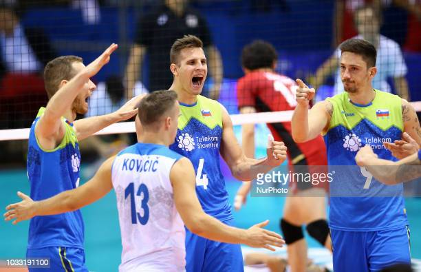 Japan v Slovenia FIVP Men's World Championship Slovenia celebrates at Mandela Forum in Florence Italy on September 14 2018 Photo Matteo Ciambelli /...