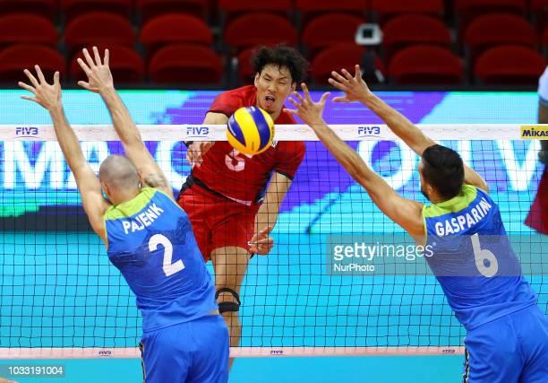 Japan v Slovenia FIVP Men's World Championship Tatsuya Fukuzawa of Japan in action at Mandela Forum in Florence Italy on September 14 2018 Photo...