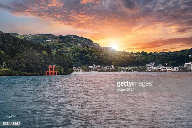 Japan view during sunrise at Lake Ashi