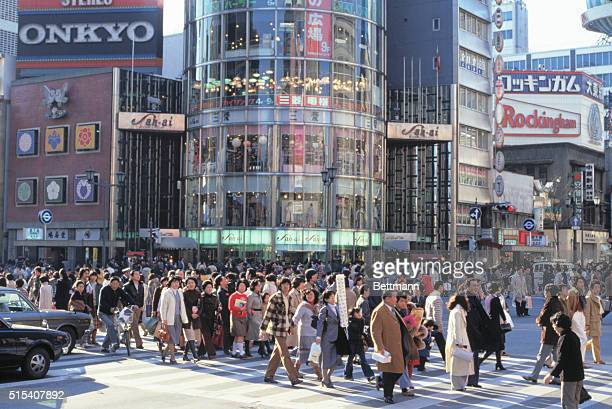 View of street in Ginza Tokyo with crowds
