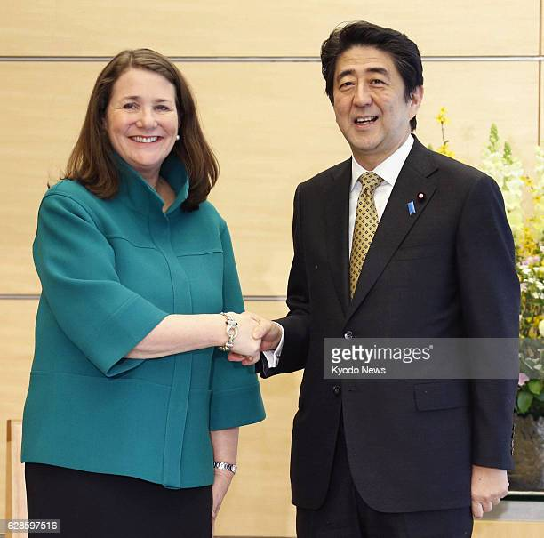 TOKYO Japan Visiting US Rep Diana DeGette shakes hands with Japanese Prime Minister Shinzo Abe at the prime minister's office in Tokyo on Feb 19...