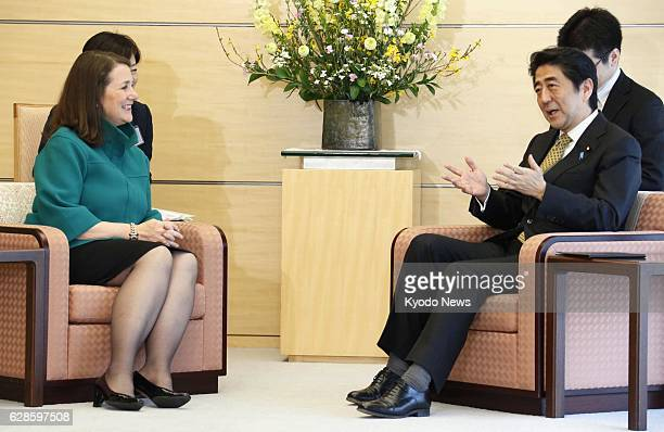 TOKYO Japan Visiting US Rep Diana DeGette talks with Japanese Prime Minister Shinzo Abe at the prime minister's office in Tokyo on Feb 19 2014...
