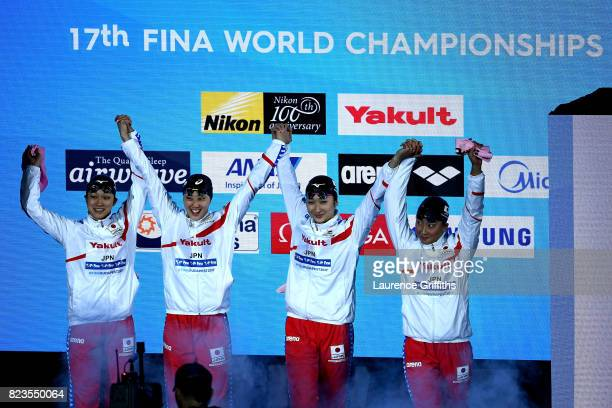 Japan walk out prior to the Womens 4x200m Freestyle final on day fourteen of the Budapest 2017 FINA World Championships on July 27 2017 in Budapest...