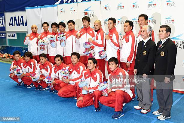 Japan water polo team pose for photo in the sendoff party for the Rio 2016 Olympics after the Japan Open 2016 at Tokyo Tatsumi International Swimming...