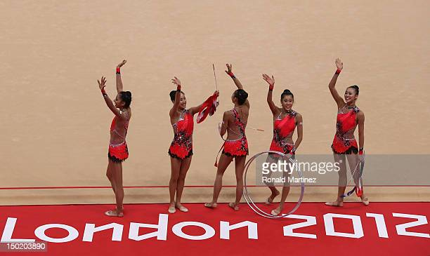 Japan wave to the crowd after the Group AllAround Rhythmic Gymnastics Final Rotation 2 on Day 16 of the London 2012 Olympic Games at Wembley Arena on...