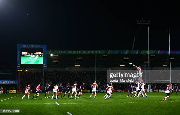 Japan win the line out ball during the 2015 Rugby World Cup Pool B match between USA and Japan at Kingsholm Stadium on October 11 2015 in Gloucester...