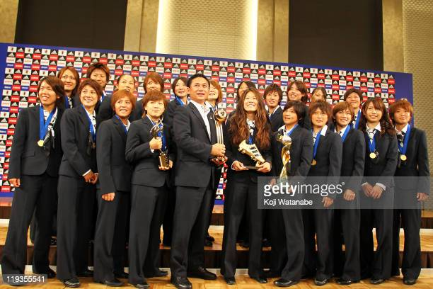Japan women's football team attend a press conference as the Women's World Cup winners return home at The Capitol Tokyu Hotel on July 19 2011 in...