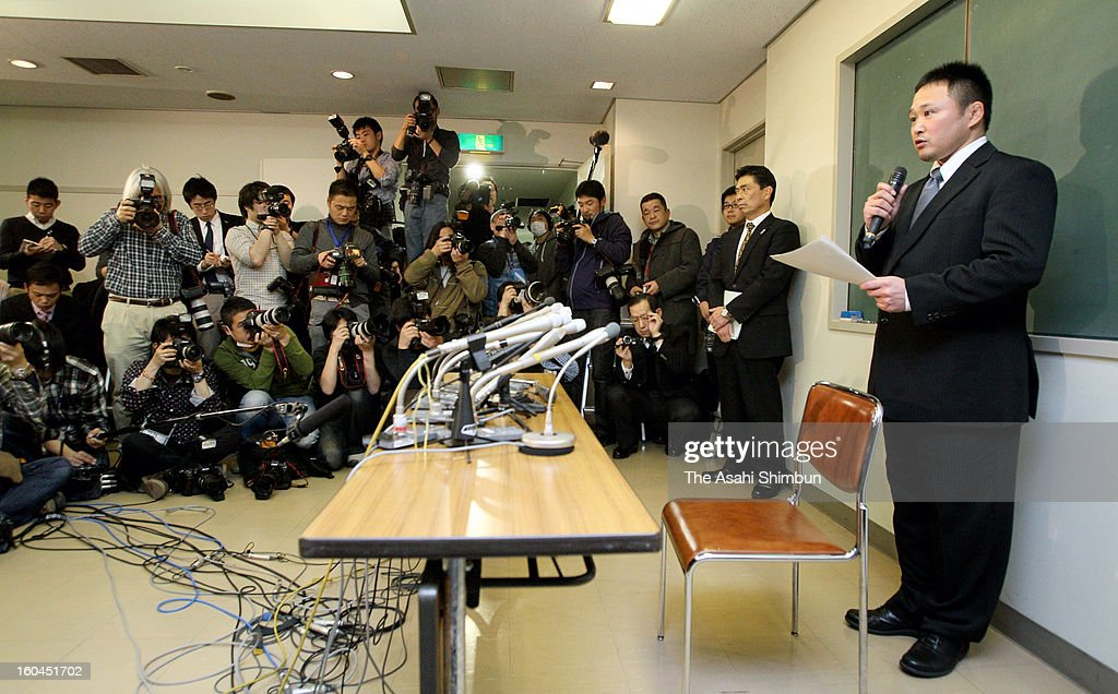 Japan Women's Judo national team head coach Ryuji Sonoda speaks during a press conference on January 31, 2013 in Tokyo, Japan. Sonoda announced he will resign as head coach of the Japanese women's judo team following revelations he used violence and harassed judoka under him.