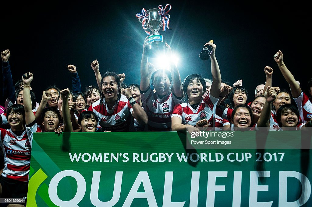 Japan Women's Team celebrating after winning Hong Kong during the Womens Rugby World Cup 2017 Qualifier match between Hong Kong and Japan on December 17, 2016 in Hong Kong, Hong Kong.