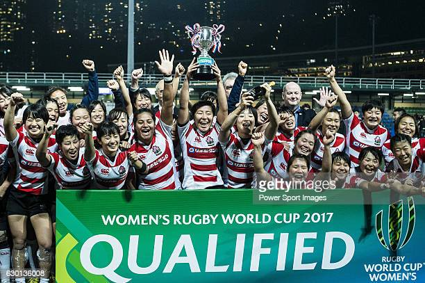 Japan Women's Team celebrating after winning Hong Kong during the Womens Rugby World Cup 2017 Qualifier match between Hong Kong and Japan on December...