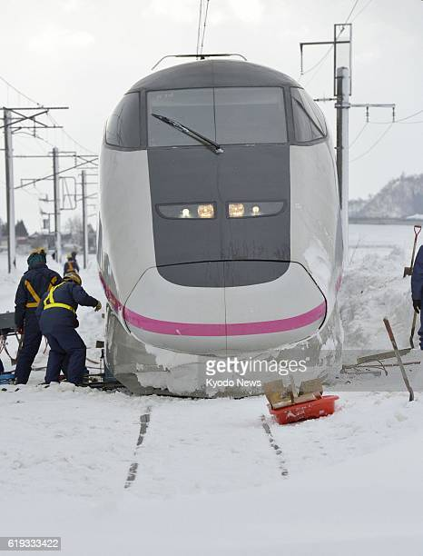 DAISEN Japan Work is under way in Daisen Akita Prefecture on March 3 to restore a bullet train that derailed on the Akita Shinkansen Line the...