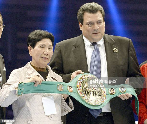 TOKYO Japan World Boxing Council President Mauricio Sulaiman presents an honorary champion belt in Tokyo on April 6 for former Japanese professional...
