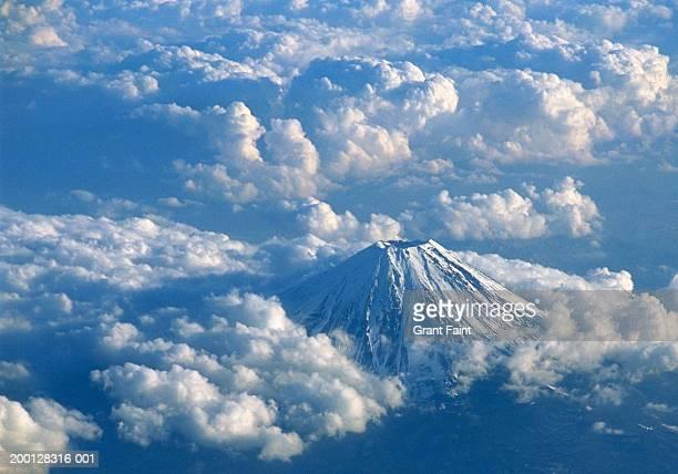 japan, yamanashi, mount fuji, aerial view - mt. fuji stock pictures, royalty-free photos & images