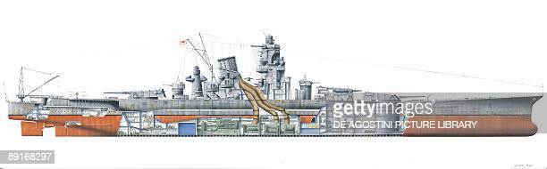 Japan, Yamato class battleship, 1940. Illustration
