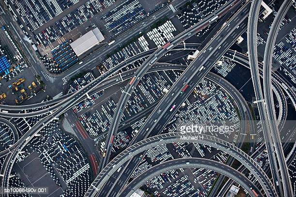 Japan, Yokohama, Kanagawa, Highway and Daikoku Parking Area, aerial view