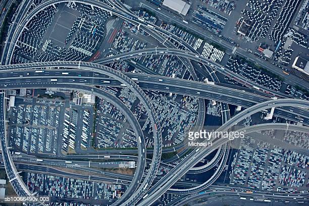japan, yokohama, kanagawa, highway and daikoku parking area, aerial view - yokohama stock pictures, royalty-free photos & images