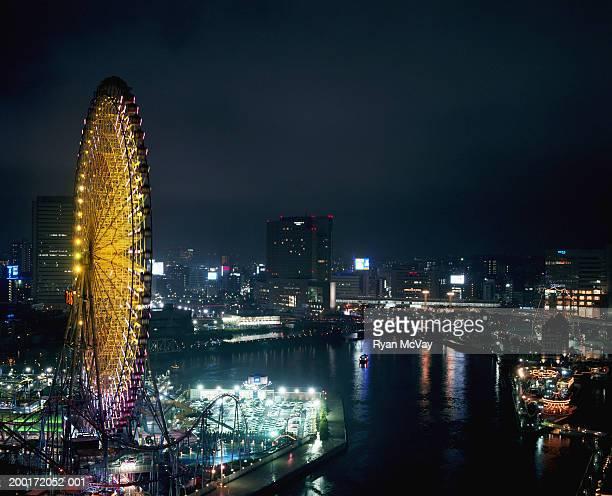 Japan, Yokohama, Minato Mirai, bay and cityscape, night