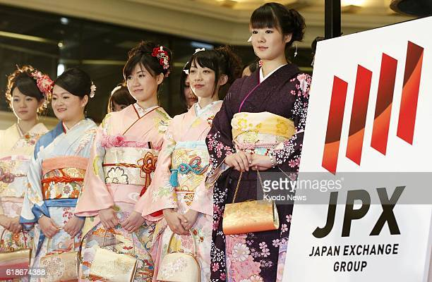 TOKYO Japan Young women wearing festive Japanese kimono attend the opening ceremony of the Tokyo Stock Exchange in the capital's Nihombashi Kabutocho...
