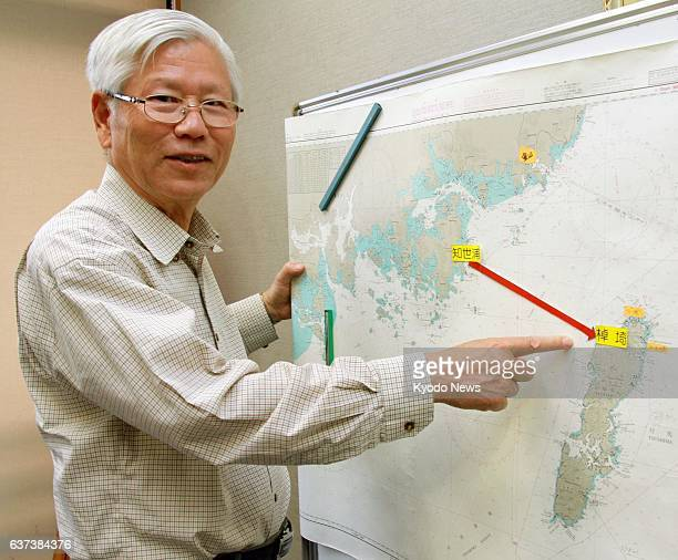 MATSUE Japan Yutaka Mori leader of a civilian group studying the ancient transfer of culture from the Korean Peninsula to Japan explains a sea route...