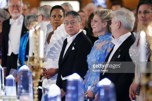 Japanborn British novelist Kazuo Ishiguro attends a banquet sponsored by Sweden's King Carl XVI Gustaf for the 2017 Nobel Prize winners held at...