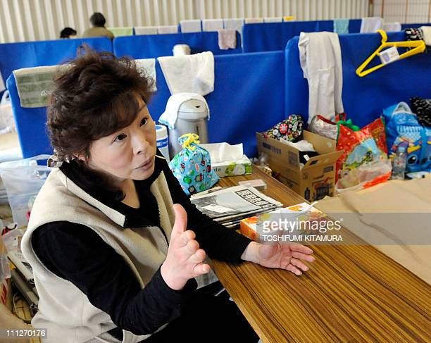 STORY JapandisasternuclearrefugeeFOCUS by Shingo ItoThis picture taken on March 28 2011 shows Tomoko Sato at a makeshift shelter in Yokote city Akita...