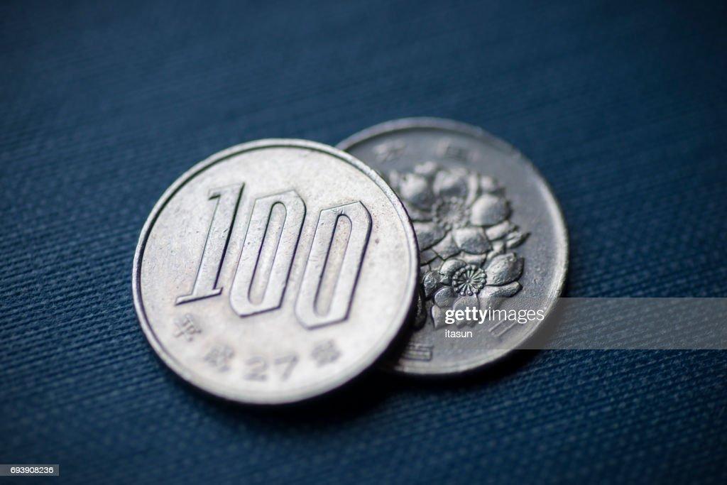 Japanese 100 Yen Coins : Stock Photo