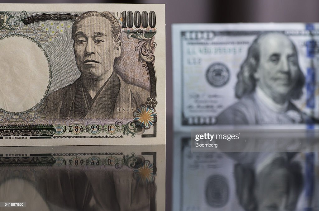 A Japanese 10,000 yen and U.S. 100 dollar banknote are arranged for a photograph in Tokyo, Japan, on Monday, June 20, 2016. Japanese shares fell, with the Topix index dropping for the first time in three days, as the yen rose ahead of the U.K. decision on European Union membership and investors awaited testimony from Federal Reserve Chair Janet Yellen. Photographer: Tomohiro Ohsumi/Bloomberg via Getty Images