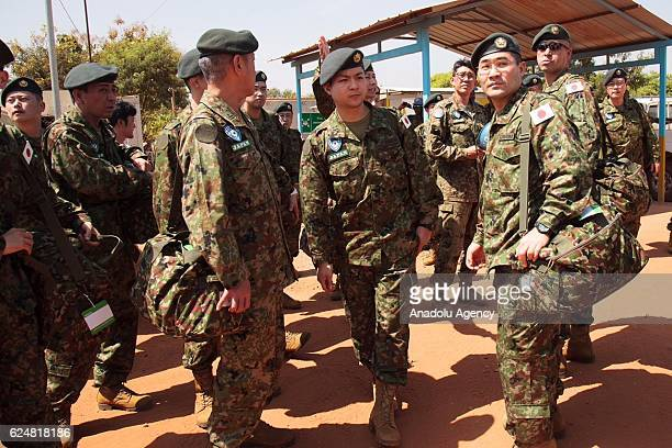 Japanese 63th troop personnel arrive at Juba airport to take part in U.N. Peacekeeping activities including rescue operations, in Juba, South Sudan...