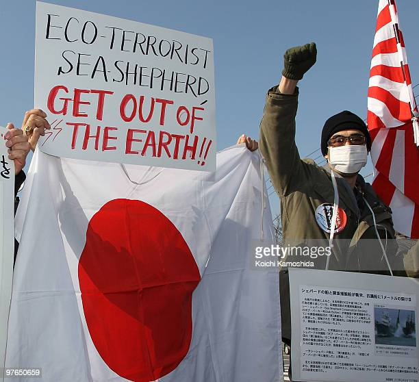 Japanese activists gather and protest upon the arrival of Japan's whaling vessel Shonan Maru 2 detaining a New Zealand antiwhaling activist Peter...