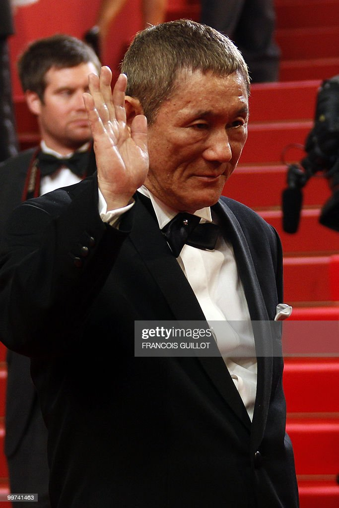 Japanese actor and director Takeshi Kitano arrives for the screening of 'Outrage' presented in competition at the 63rd Cannes Film Festival on May 17, 2010 in Cannes.