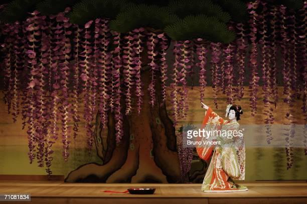 Japanese actor Ebizo Ichikawa XI performs as Spirit of the Wisteria in Fuji Musume as part of Kabuki at Sadlers Wells on May 30 2006 in London Ebizo...