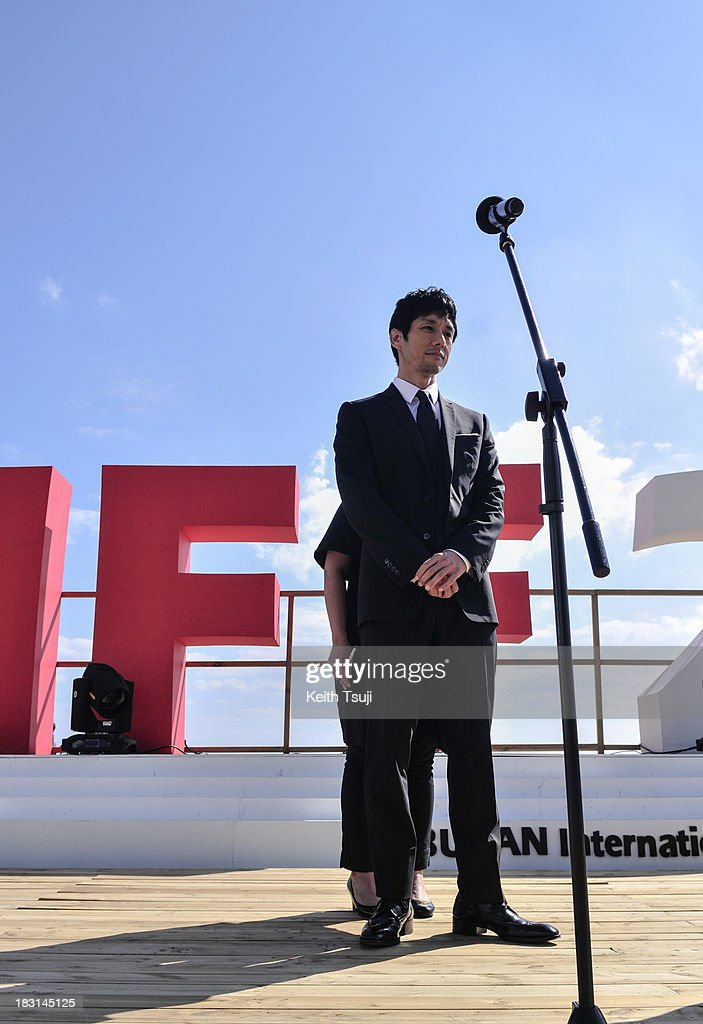 Japanese actor Hidetoshi Nishijima attends the 'Genome Hazard' Outside Stage Greeting during the 18th Busan International Film Festival on October 4, 2013 in Busan, South Korea.