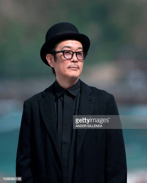Japanese actor illustrator and writer Lily Franky poses to promote the film 'Manbiki Kazoku / Shoplifters' during the 66th San Sebastian Film...