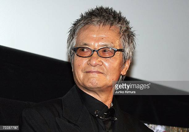 Japanese actor Ken Ogata speaks before the screening of their film A Long Walk directed by Eiji Okuda during the 19th Tokyo International Film...
