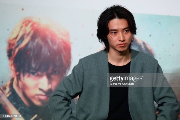 Japanese actor Kento Yamazaki attends the press conference for 'Kingdom' Singapore premiere at the Sands Theatre The Shoppes at Marina Bay Sands on...