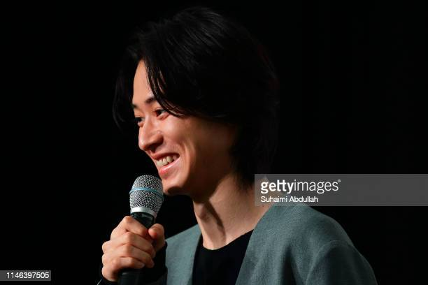 Japanese actor Kento Yamazaki speaks during the press conference for 'Kingdom' Singapore premiere at the Sands Theatre The Shoppes at Marina Bay...
