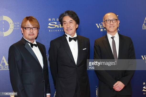 Japanese actor Koji Yakusho poses on the red carpet of the 13th Asian Film Awards on March 17 2019 in Hong Kong China