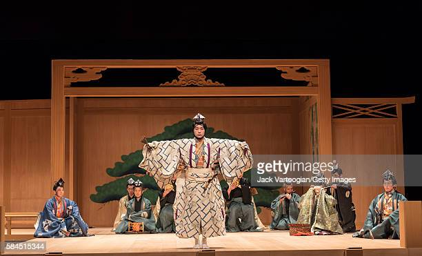Japanese actor Saburota Kanze performs during the final dress rehearsal for the Kanze Noh Theater's production of 'Okina,' part of the Lincoln Center...