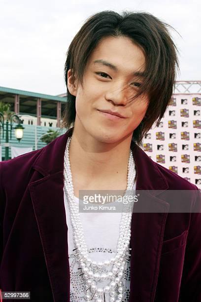 Japanese actor Shun Oguri arrives for the MTV Video Music Awards Japan 2005 on May 29 2005 Urayasu Chiba Prefecture Japan