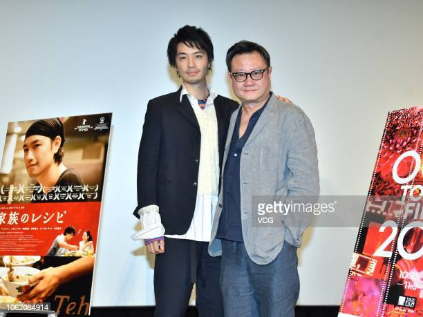 Japanese actor Takumi Saito and Singaporean director Eric Khoo Kim Hai attend a press conference of film 'Ramen Teh' at Toho Cinemas during the 31st...