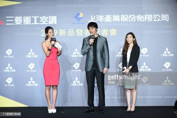 Japanese actor/model Hiroshi Abe attends new air conditioner launch event of Mitsubishi Heavy Industries on February 20, 2019 in Taipei, Taiwan of...